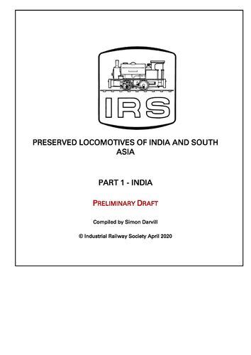 Preserved Locomotives of India - Preliminary Draft